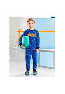 Pijama Infantil Menino Estampado Azul