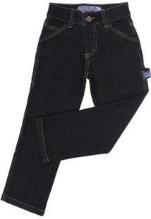Calça Jeans Carpinteira Infantil Rodeo Western Masculina - Masculino-Preto