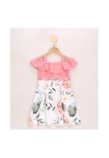 Vestido Infantil Ciganinha Estampado Floral Open Shoulder Com Babados Manga Curta Com Cinto Off White