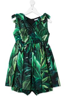 Dolce & Gabbana Kids Vestido Com Estampa - Verde