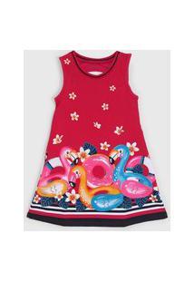 Vestido Kyly Infantil Flamingo Rosa/Azul-Marinho