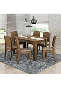 Conjunto De Mesa Com 6 Cadeiras Bárbara Savana E Café