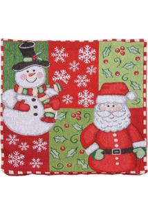 Capa Para Almofada Papai Noel- Vermelho & Verde- 45Xcromus