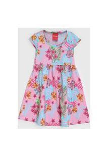 Vestido Fakini Infantil Floral Rosa