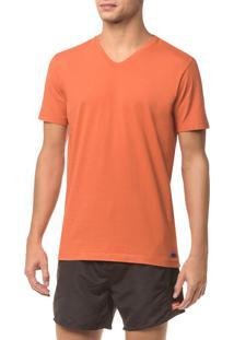 Camiseta Ck Swim Gola V Etiqueta Barra - Laranja - P