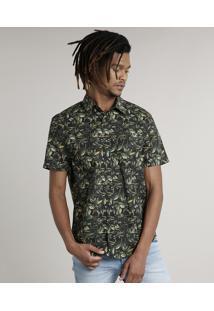 Camisa Masculina Tradicional Estampada De Folhagem Com Bolso Manga Curta Preta