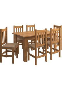 Conjunto Mesa + 6 Cadeiras Zamarchi, Canela - 139082