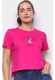 Camiseta Colcci Cropped Disney Mickey Feminina - Feminino-Rosa