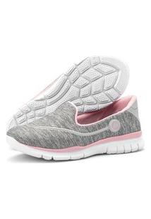 Tênis Caminhada Feminino Esportivo Sapatilhas Slipper Sapatore Cinza