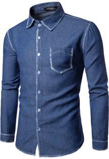 Camisa Masculina Slim Jeans Manga Longa - Azul Escuro G