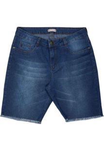 Bermuda Jeans Ciclista Com Barra Desfiada Plus Size Pernambucanas Feminina - Feminino-Azul