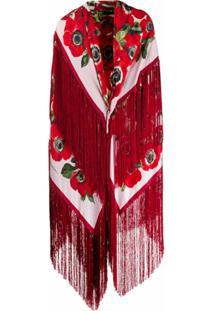 Dolce & Gabbana Túnica Longa Com Transpasse E Estampa - Vermelho