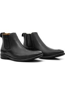 Bota Couro Soft Comfort Soft Flex 18690 Masculina - Masculino-Preto