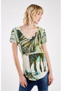 Camiseta Malha Folhagem Fresca Sacada Feminina - Feminino
