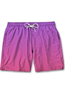 Bermuda Short Masculino Degrade Moda Tactel Praia Rosa