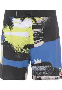 Bermuda Masculina Surf Beach Contrast - Preto