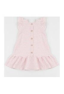 Vestido Infantil Canelado Estampado Listrado Com Babado E Botões Rosa