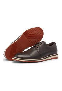 Sapato Oxford Masculino Couro Legítimo Alpha Tabaco