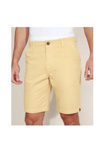 Bermuda De Sarja Masculina Chino Reta Com Bolsos Amarela
