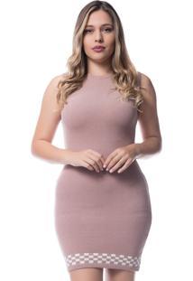 Vestido Officina Do Tric㴠Modal Barra Xadrez 7511 Rosa Croch㪠- Rosa - Feminino - Modal - Dafiti