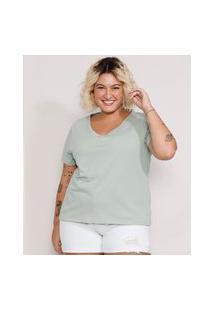 Camiseta Plus Size Feminina Manga Curta Decote V Verde Claro
