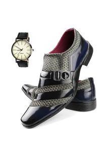 Sapato Social Tricê Neway Masculino Azul + Relógio