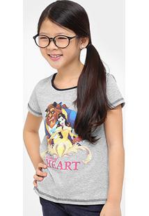 Camiseta Disney Bela Infantil - Feminino-Mescla