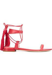 Lanvin Sandália Com Detalhes De Tassel - Vermelho
