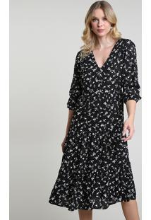 Vestido Feminino Midi Estampado Floral Manga Longa Preto