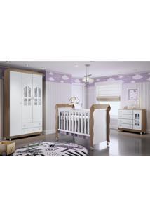 Dormitório Selena Guarda Roupa 3 Portas/Cômoda/Berço Mini Cama Mirelle Amadeirado Carolina Baby