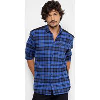 Camisa Xadrez Coca-Cola Recorte Costas Masculina - Masculino-Azul 6f0665652e9f2