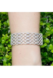 Bracelete Cravejado Com Zircônias Na Cor Branca Folheado A Ródio