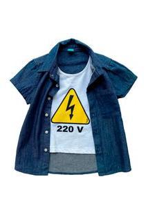 Camisa Infantil Menino Jokenpô Jeans 220V Azul