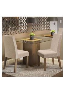 Conjunto Sala De Jantar Madesa Lisi Mesa Tampo De Vidro Com 2 Cadeiras Rustic/Imperial Rustic