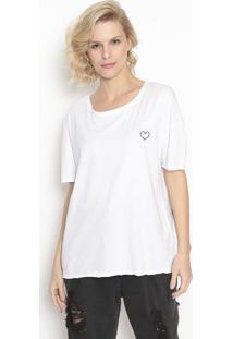 "Camiseta ""Coraã§Ã£O""- Branca & Preta- Canalcanal"