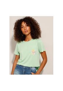 "Camiseta Flores ""Happiness"" Manga Curta Decote Redondo Verde"