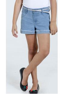 Short Infantil Jeans Brilho Cinto Marisa