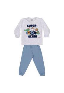 Pijama Longo Infantil Brilha No Escuro Super Heróis Dadomile-4