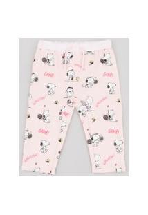 Calça Infantil Snoopy Estampada Rosa Claro