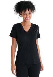 Camiseta Gola V Energy Feminnina - Feminino-Preto
