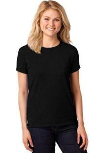 Camiseta Partiucompras Lisa Algodão Básica Feminina - Feminino-Preto