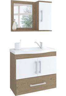 Conjunto De Banheiro Atenas Carvalho E Branco