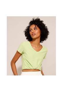 Camiseta Flamê De Algodão Básica Manga Curta Decote V Verde Claro