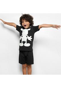 Pijama Infantil Disney Verão Brilha No Escuro Masculino - Masculino-Preto