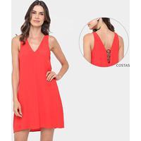 Vestido Colcci Evasê Curto Detalhe Metalizado Costa - Feminino-Vermelho aadf5f6ea5a9f