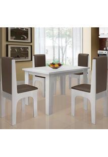 Conjunto Mesa Com 4 Cadeiras - Miami - Dobuê - Branco / Cafe