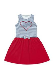 Vestido Infantil - Top Listrado Coração - Algodão E Elastano - Vermelho - Duduka