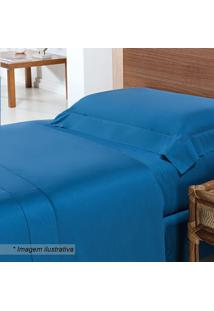 Jogo De Cama Solteiro- Azul- 3Pçs- 270 Fios-Niazitex