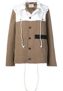 Plan C Two-Tone Hooded Jacket - Marrom