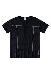 T-Shirt Malwee Manga Curta Em Viscolycra Refletiva Preto